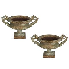 Pair of Antique French Cast Iron Urns