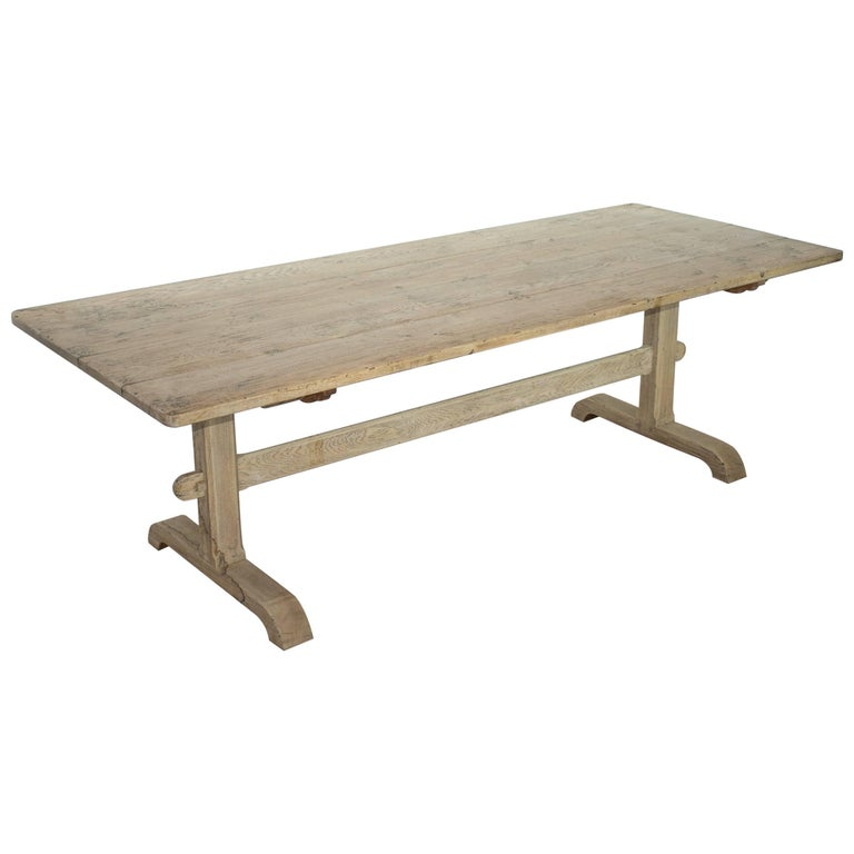 Antique French Elm Farmhouse Trestle Table at 1stdibs
