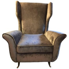 Italian Flared Armchairs in Rich Grey Mohair Velvet, Pair