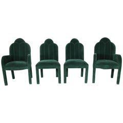 Hollywood Regency Art Deco Revival Cloverleaf Top Parson Style Dining Chairs
