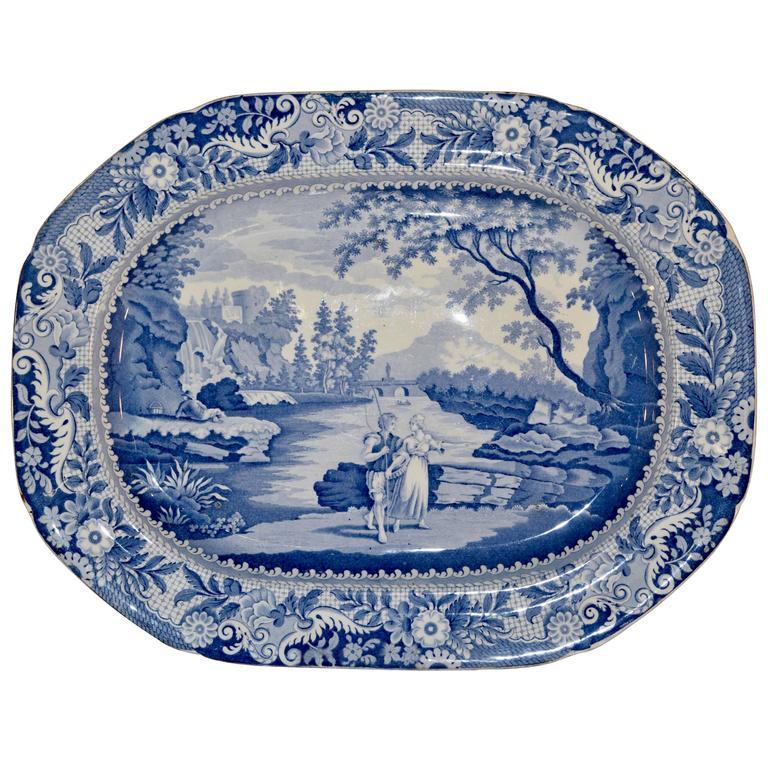 "Large ""Castle of Rochefort"" Platter, circa 1830 For Sale"