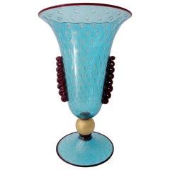 Monumental Vincenzo Nason Moretti Venetian Murano Glass Trumpet Vase