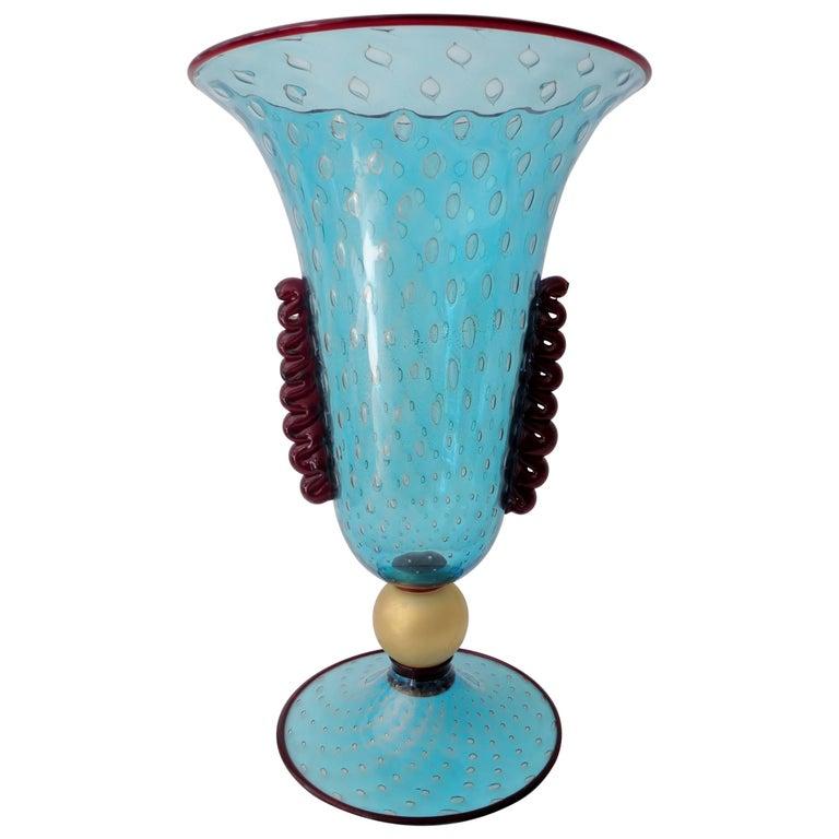 Monumental Vincenzo Nason Moretti Venetian Murano Glass Trumpet Vase For Sale