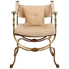 Brass and Steel Campaign Style Armchair