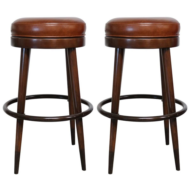 Pair Of Cognac Leather And Wood French Bar Stools At 1stdibs