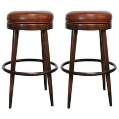 Pair of Cognac Leather and Wood French Bar Stools