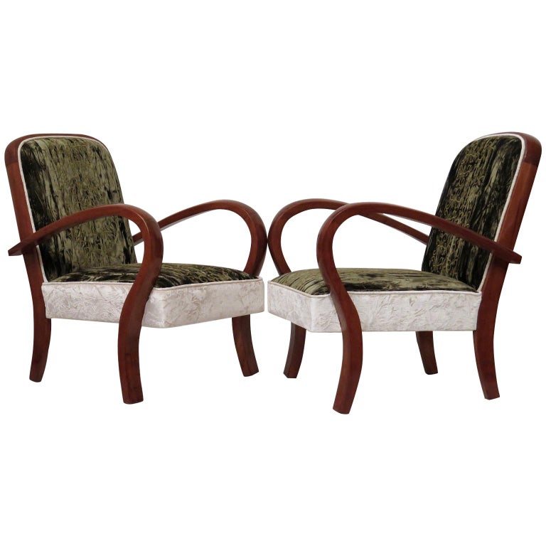 1940 Cherrywood Green and White Velvet Italian Art Deco Armchairs