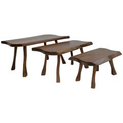 Organic Wooden Side Tables in Style of George Nakashima