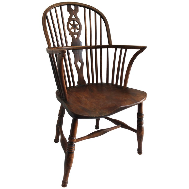 Early 19th Century English Windsor Chair with Star Back Splash