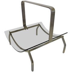Rare Fontana Arte Stainless and Glass Magazine Rack