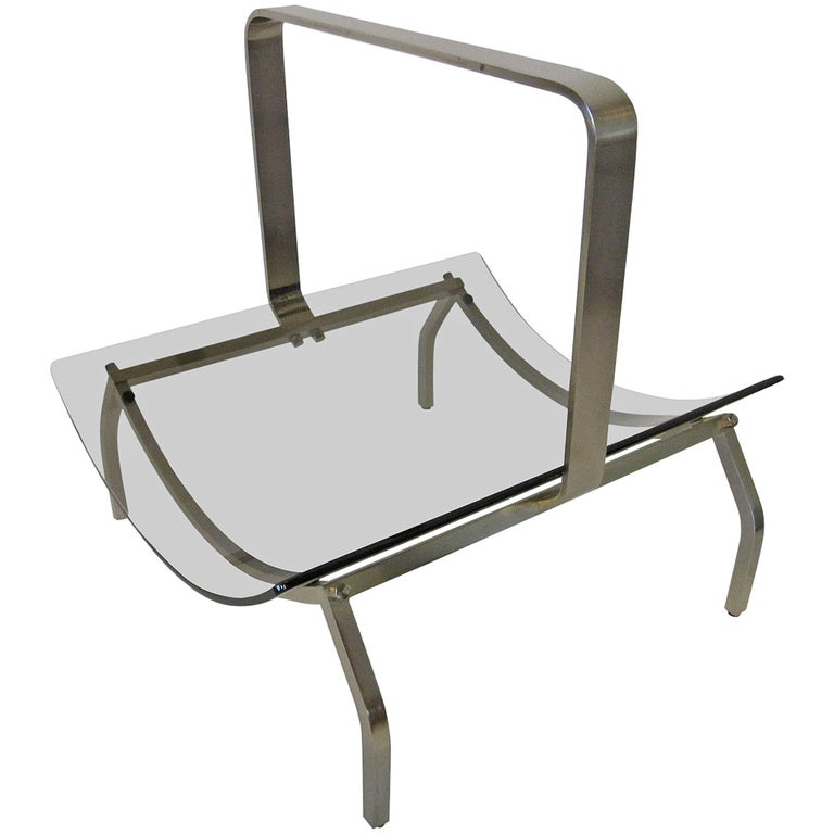Fontana Arte Stainless and Glass Magazine Rack For Sale