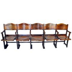 Art Nouveau Theatre Seats Row of Five Chairs, circa 1910