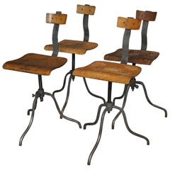 Set of Four Industrial Workshop Chairs