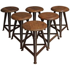 Vintage German Wood and Metal Stool from Rowac, 1930s, Set of Six