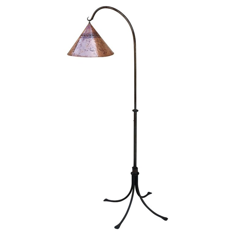 Patinated Iron Floor Lamp with Copper Shade For Sale