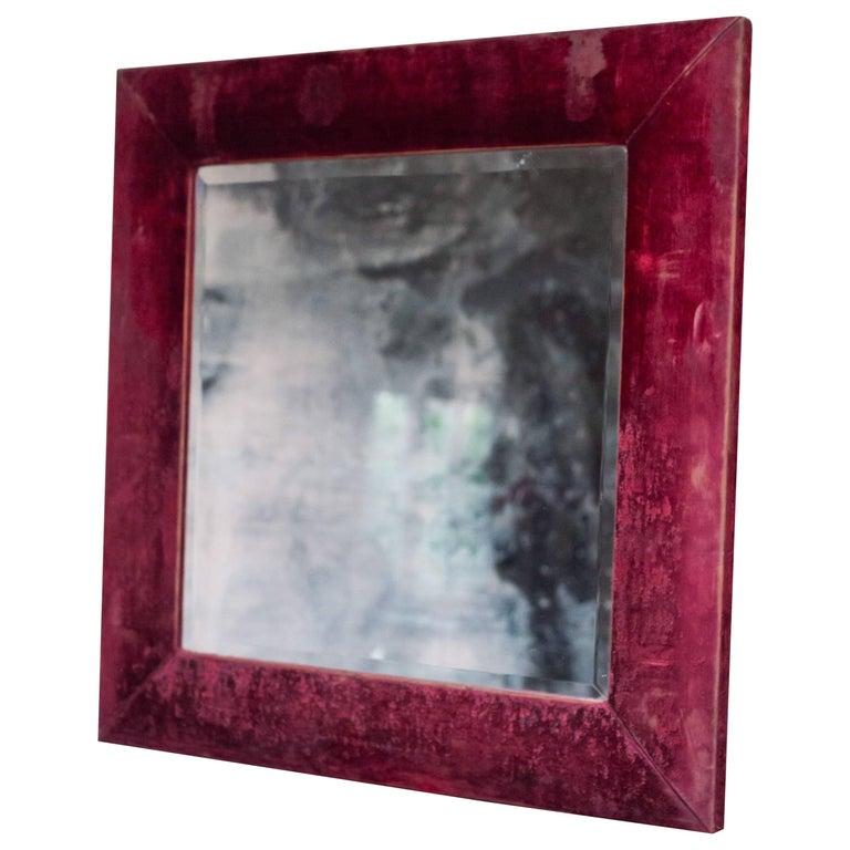 19th Century Red Velvet Framed Mirror