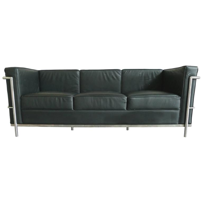Black Leather Sofa In The Style Of Le Corbusier For