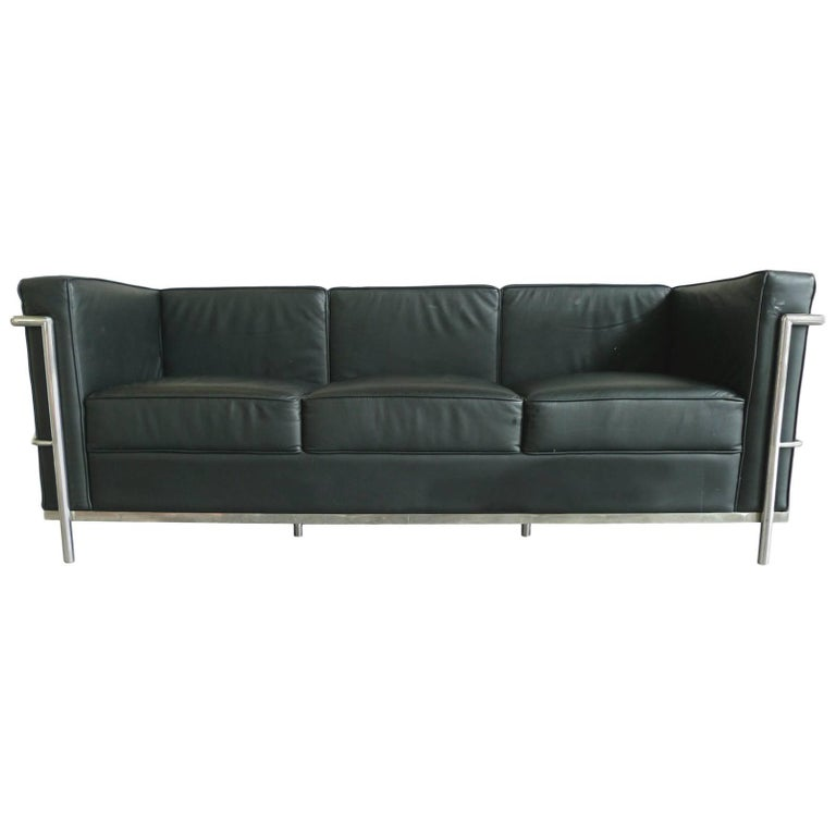 Black Leather Sofa in the Style of Le Corbusier For Sale