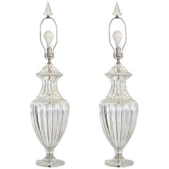 Pair of Baccarat Form Crystal Lamps