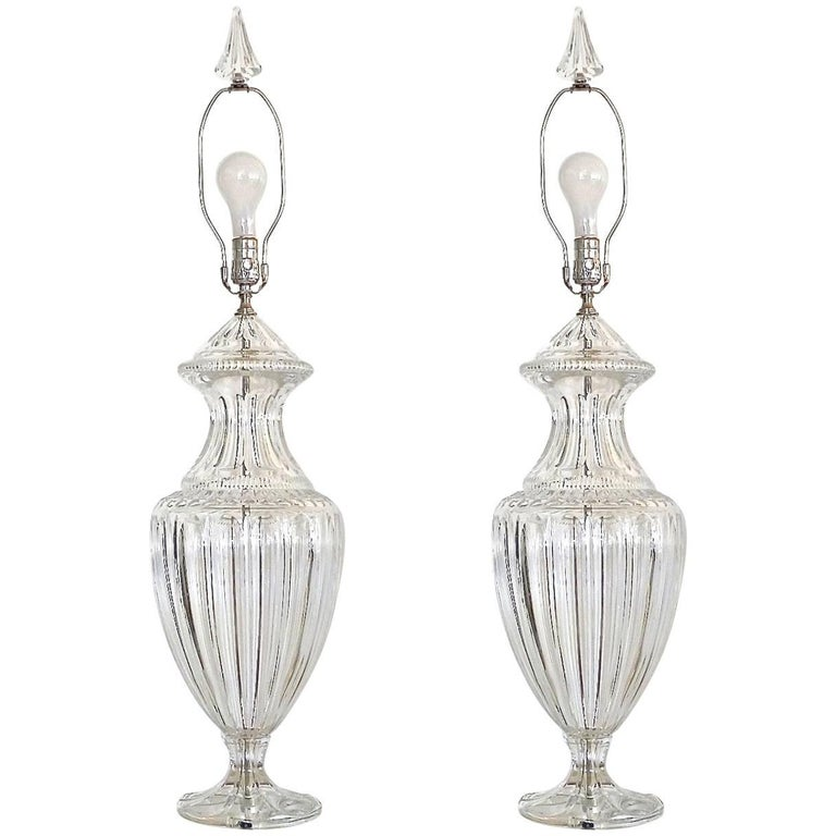 Pair of Baccarat Form Crystal Lamps 1