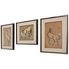 Set of Three Wood Block Japanese Horse Prints Urushibara Mokuchu