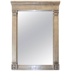 Vintage Marge Carson Platinum Leafed Neoclassical Wall Mirror