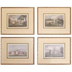 Four Engravings of English Stately Homes by J. P. Neale
