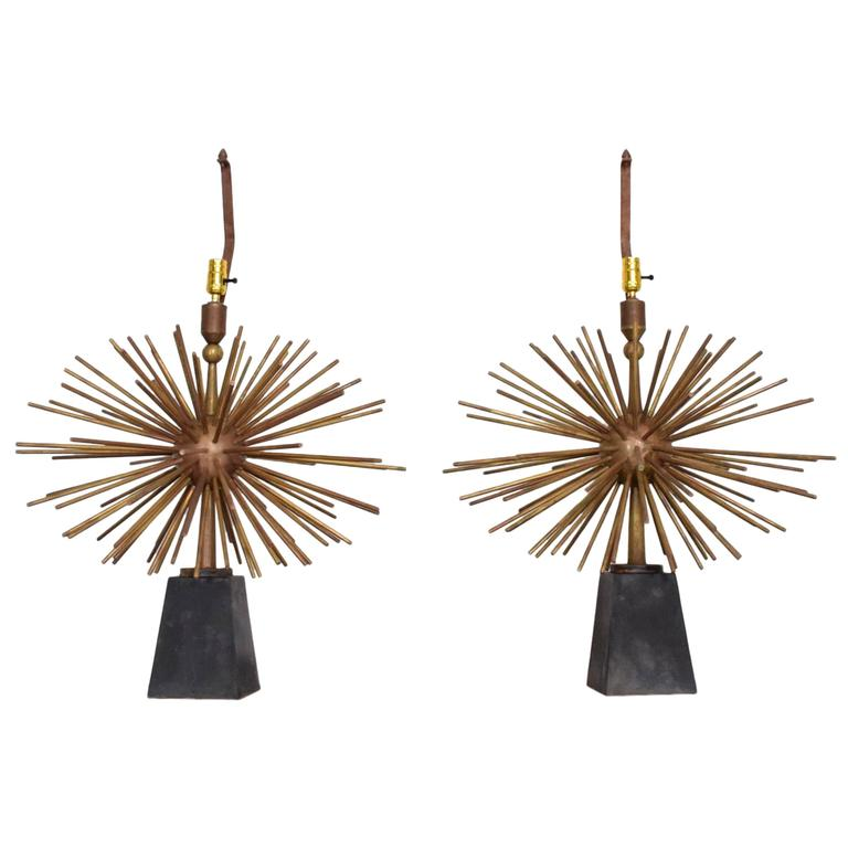 Mexican Modernist Bronze Starburst Table Lamps Attributed to Arturo Pani Sputnik For Sale