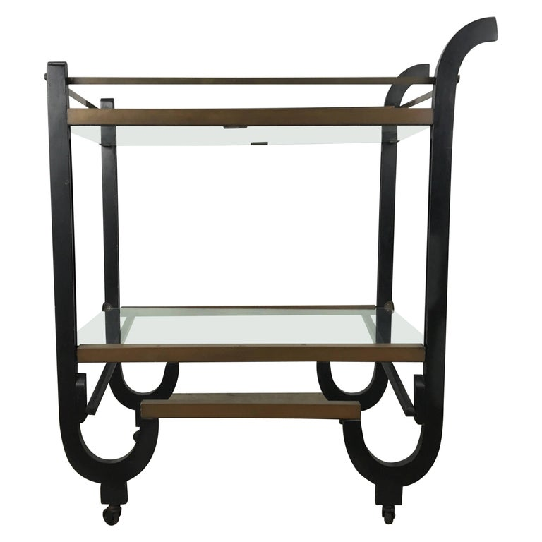 Stunning Art Deco Brass and Black Lacquer Bar or Tea Cart, Donald Deskey