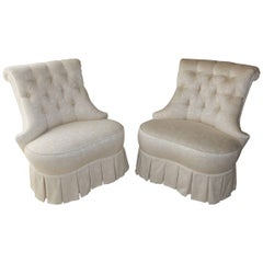 Pair of Napoleon III Style Boudoir Slipper Chairs