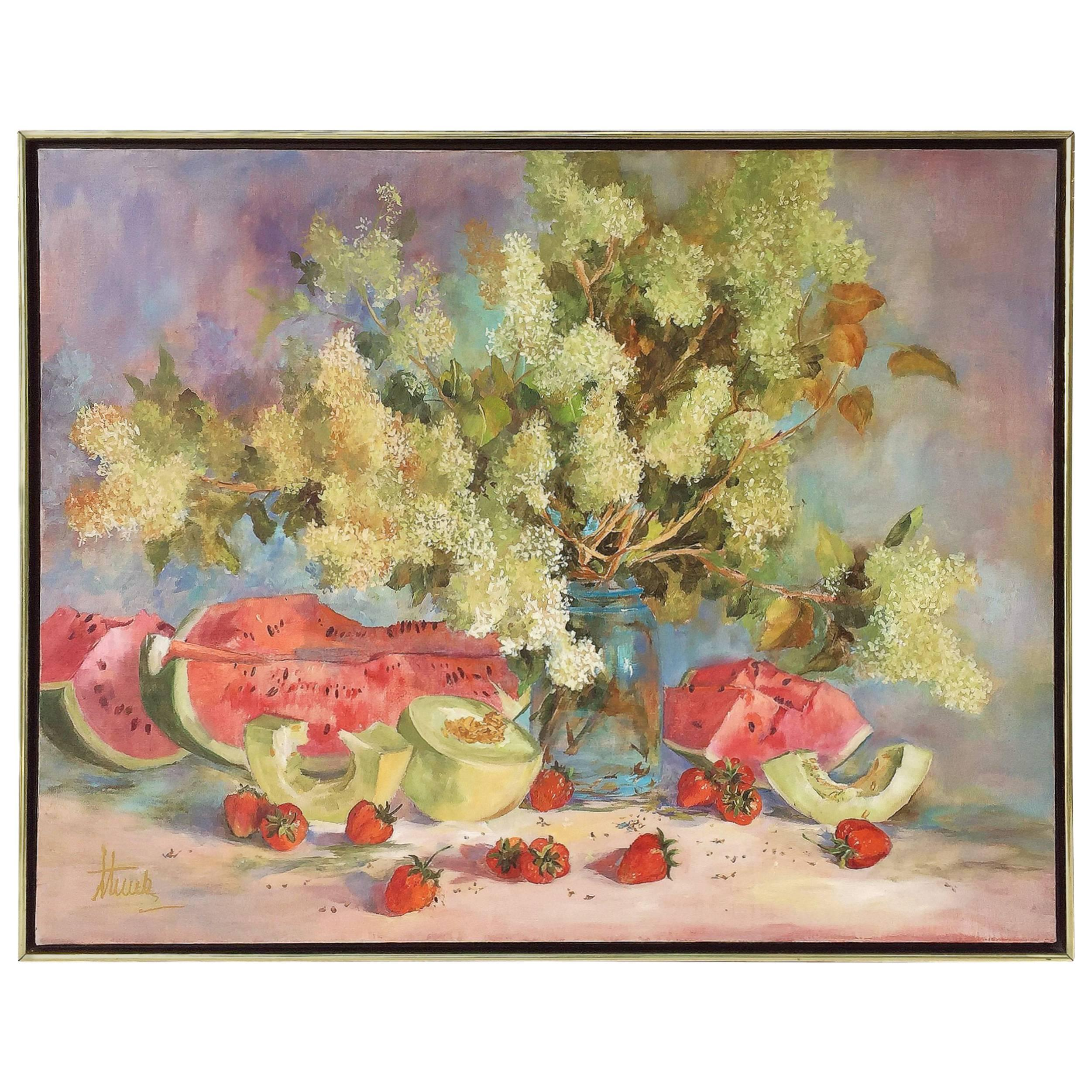 Large American School Still Life Painting on Canvas