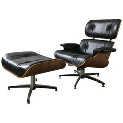 Modernist Rosewood and Leather Eames Style 670 Lounge Chair and Ottoman