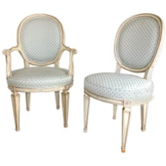 Pair of Louis XV Style Oval Back Chairs by Karges