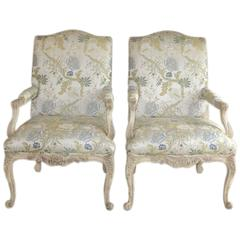 Pair of Louis XV Style Fauteuils by Baker