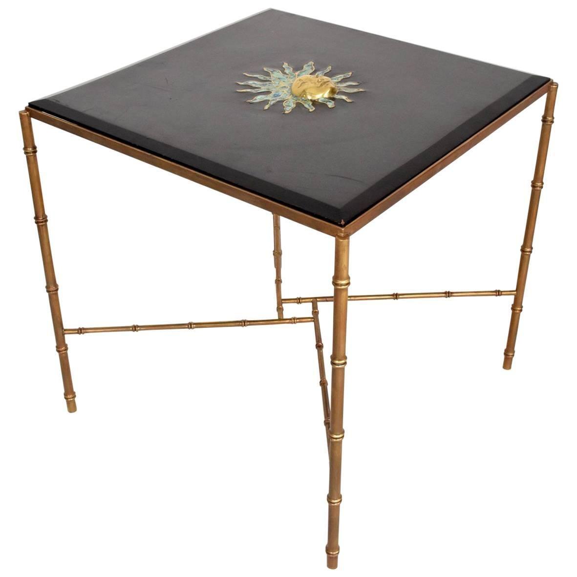 Mexican Modernist Centre Table in Brass, Wood & Malachite, Pepe Mendoza Square