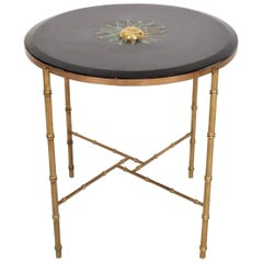 Mexican Modernist Center Table in Brass, Wood and Malachite, Pepe Mendoza