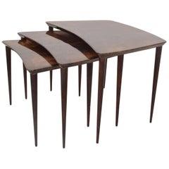 Aldo Tura Goatskin Nesting Tables Italian, Mid-Century Modern