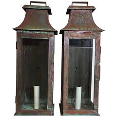 Pair of Architectural Wall Hanging Copper Lantern