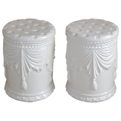Pair of White Ceramic Garden Stools
