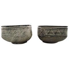 Kähler, HAK, a Pair of Glazed Stoneware Bowls / Flowerpots. Nils Kähler, 1960s
