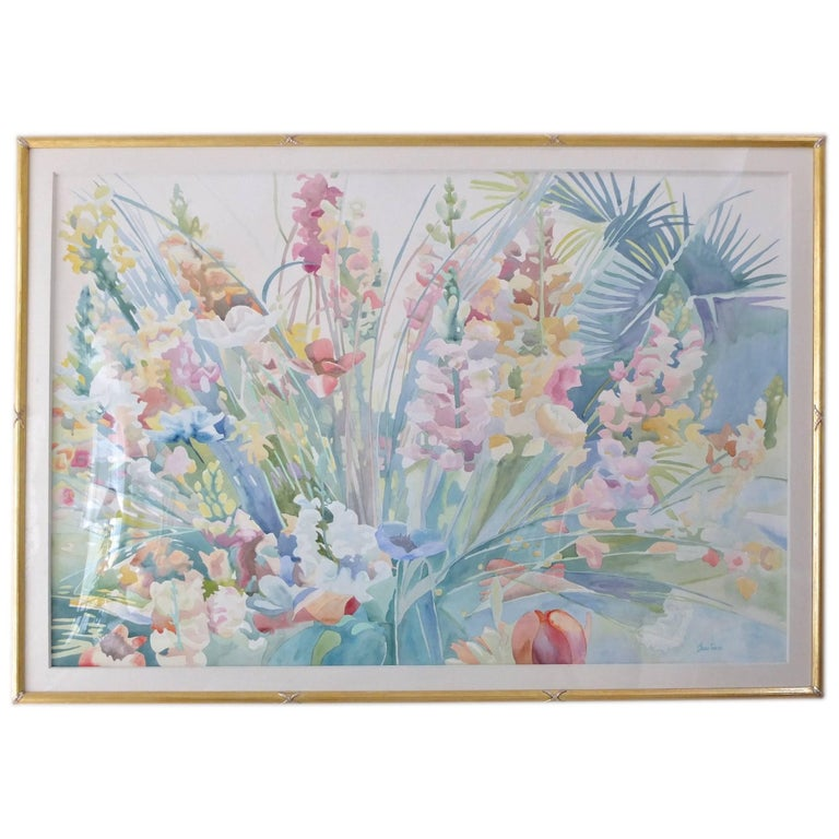 """Large-Scale Watercolor """"Spring Blossoms"""" by Linda Bastian For Sale"""
