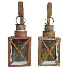 Pair of Funky Copper Wall Lantern