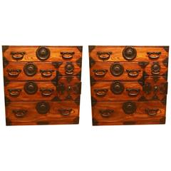 Rare Pair of Meiji Period Keyaki 'Elm' Tansu Chests