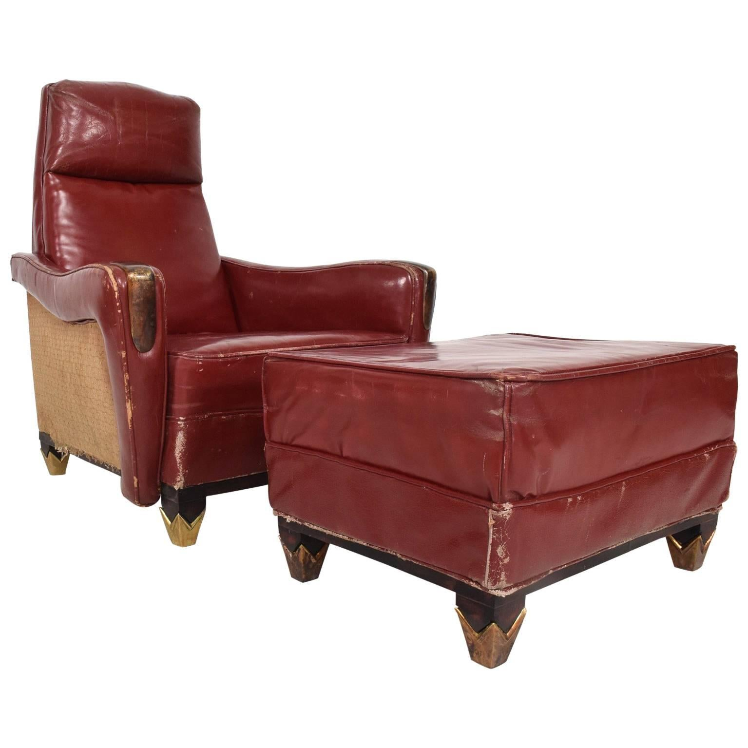 Incroyable Mexican Modernist Tall Club Chair Ottoman Red Leather Brass Arturo Pani For  Sale