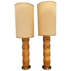 Handsome Pair of Wallpaper Roller Table Lamps