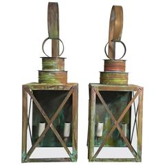 Pair of Architectural Copper Wall Lantern