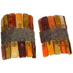Pair of Wall Sconces by Feders, Colored Handblown Glass Tiles Mexican Modernism
