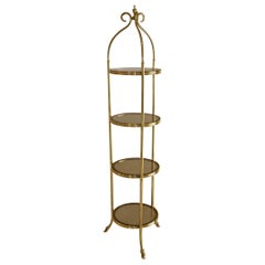 La Barge Brass and Smoked Glass Slim Round Tower Etagere