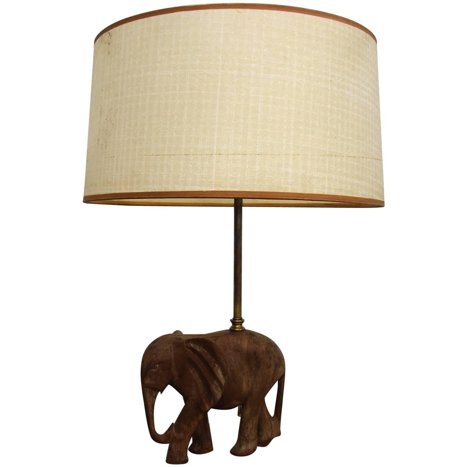 Hollywood Regency Sculptural Wood Elephant Table Lamp For Sale
