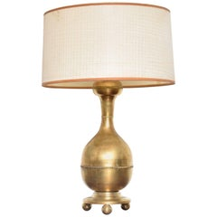Mid-Century Modern Sculptural Brass Table Lamp, Mexican Modernist